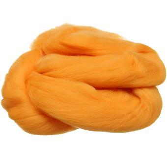 100% ren ny ull for nål filting, 50g - lys oransje