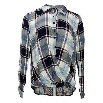 Tolani Collection Women's Top Pullover Plaid w/ Printed Back Black A382635