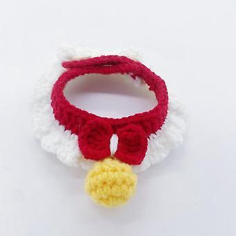 Collar de gato Lindo collar de punto a mano con pequeña bola amarilla Mascota Bandana traje de bufanda de cachorro tamaño XS