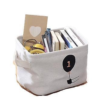 2Pcs Desktop Foldable Storage Basket Canvas Fabric Waterproof Organizer With Handles Sundries