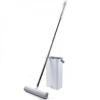 Flat Mop Broom With Bucket And Strong Absorbent Sponge, Household Cleaning Tool