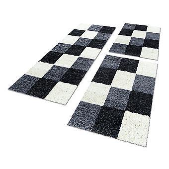 Bordure de lit haute tapis tapis set 3 pièces karo motif noir gris crème
