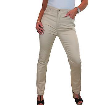 Femmes's Straight Leg High Waist Jeans Ladies Stretch Chino Pantalon Smart Casual 10-20