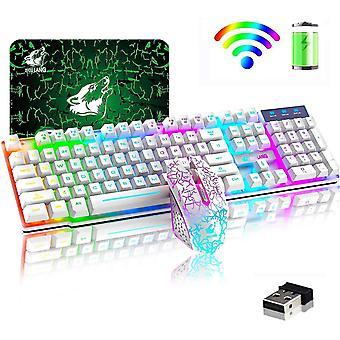 Tastaturtasten Caps Drahtlose Tastatur Maus Combo Regenbogen Hintergrundbeleuchtung 2.4G Wiederaufladbare mechanische Gefühl