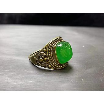 Green Jade Ring Gold Rings Resizable Emerald Ring S925 Sterling Silver Ring Women