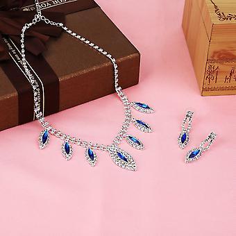 Luxus kék / lila esküvői szett Kristály menyasszonyi ékszerek vízcsepp forma