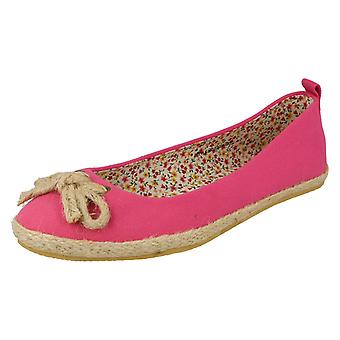 Ladies Spot On Flat Slip On Shoes F2234