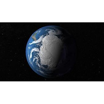 Ful jorden viser simulerede skyer over Antarktis plakat Print