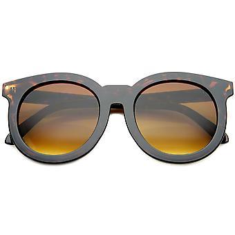 القرن المتضخم شيك ريمد عدسة المرأة مسطحة مستديرة النظارات الشمسية 64 مم