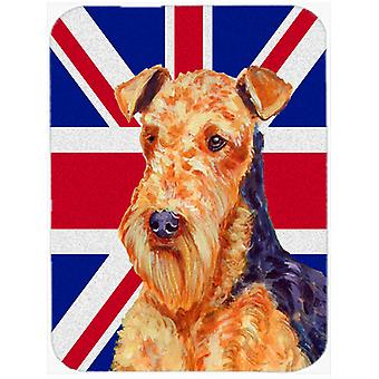 Airedale with English Union Jack British Flag Glass Cutting Board Large Size