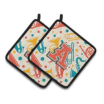 Letter Retro Teal Orange Musical Instruments Initial Pair of Pot Holders CJ2001