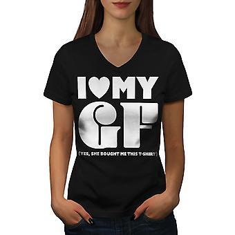 Love Girlfriend Funny Women BlackV-Neck T-shirt | Wellcoda