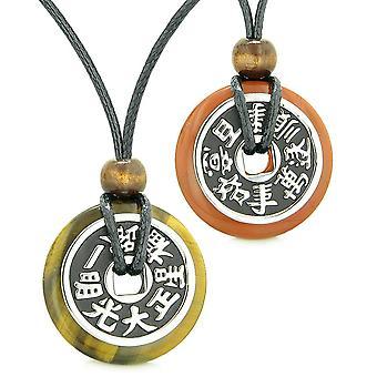 Amuletten groot omkeerbare fortuin munten liefde paren Yin Yang bevoegdheden Tiger Eye rode Jasper kettingen
