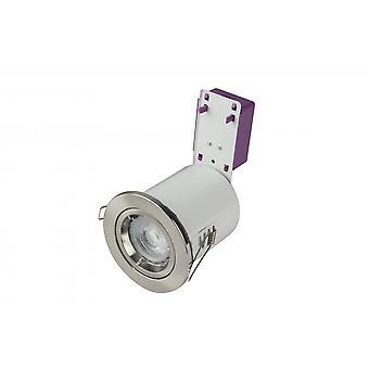 LED Robus スターリング本管ダイキャスト火災定格ダウンライト, 85mm, ブラッシュクローム