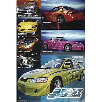 The Fast and the Furious 2 Poster Collage Cars