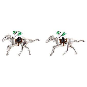 David Van Hagen paardenrennen Manchetknopen - zilver/groen