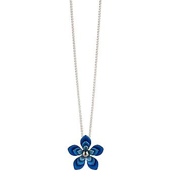 Ti2 Titanium Double Five Petal Flower Pendant - Blue