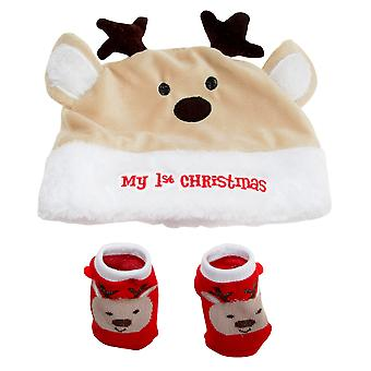 Nursery Time My 1st Christmas Baby Hat And Socks Set