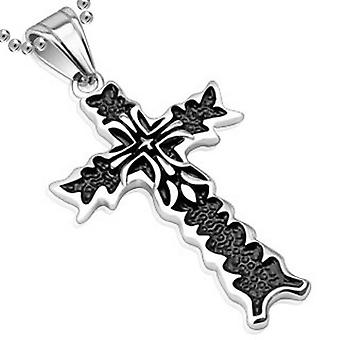 Double Cross Flame Pendant Two Tone Black, Stainless Steel Jewellery with Chain