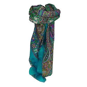 Moerbei zijde traditionele vierkante sjaal Sarnath Sky door Pashmina & Silk