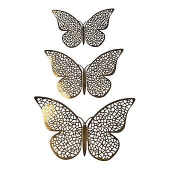 12pcs mariposas 3D en metal, decoración de la pared-malla de oro