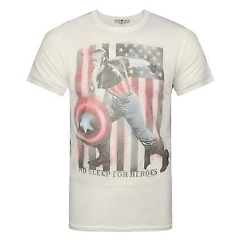 Junk Food Captain America No Sleep For Heroes Men's T-Shirt White