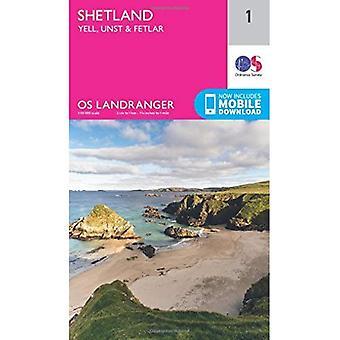 Landranger (1) Shetland Yell, Unst i Fetlar (OS Landranger mapę)
