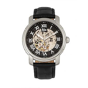 Reign Kahn Automatic Skeleton Leather-Band Watch - Silver/Black