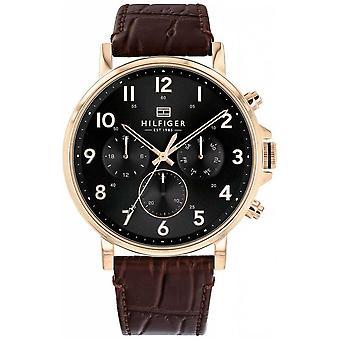 Tommy Hilfiger Hombres's Cuero Marrón Daniel Reloj 1710379