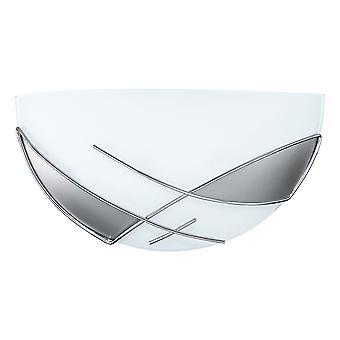 Eglo - Raya 1 lichte moderne flush muur licht zilver/chroom afwerking met glas schaduw EG89759