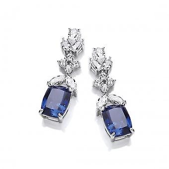 Cavendish French Silver and Tanzanite CZ 'Oscars' Earrings
