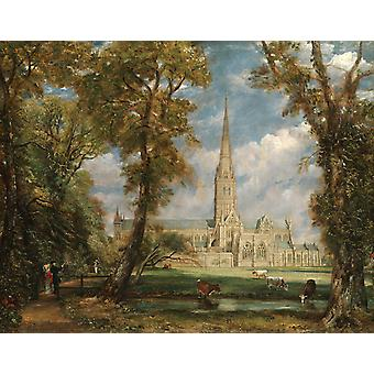 Salisbury Cathedral from the Bishop-S, John Constable, 50x40cm