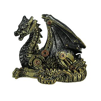 Metallic Silver and Gold Sitting Steampunk Dragon Statue
