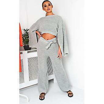 IKRUSH Womens Heath Knitted Slit Sleeve Co-ord