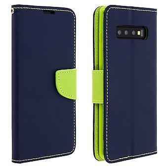 Fancy stil omslag, plån bok väska med stativ för Samsung Galaxy S10 plus mörkblå