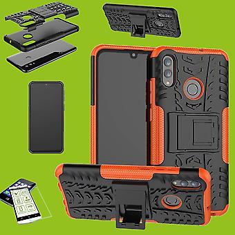 Voor Huawei Y6 2019 Hybrid Case 2-delige Orange + 0,26 mm 2.5 D H3 hard Glass Bag geval Cover Case