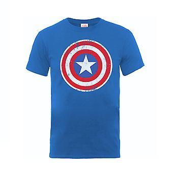 キャプテンアメリカTシャツディストレスシールドオフィシャルマーベルキッズブルー年齢5-13