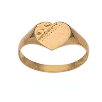 9ct Gold hand engraved heart Maids Signet Ring Size P