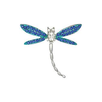 Eternal Collection Nimble Blue Crystal Dragonfly Silver Tone Brooch