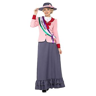Deluxe Victorian Suffragette Costume, Historical Fancy Dress, UK Size 12-14