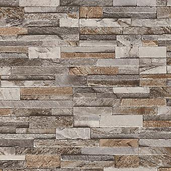 3D Brick Effect Wallpaper Slate Stone Wall Textured Brown Grey Paste Wall