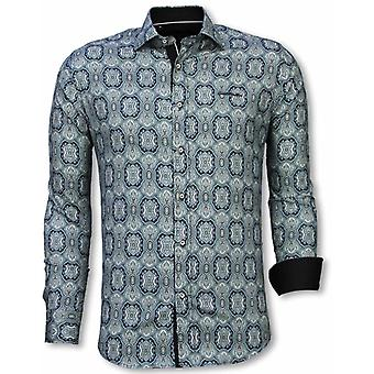 E Shirts - Slim Fit - Ornament Pattern - Blue
