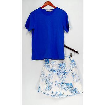 Denim & co. set stretch T-skjorte & stretch Classic trykt Skort blå A10855