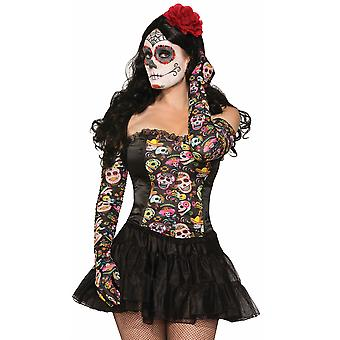 Day Of The Dead Senorita Mexican Spanish Skull Women Costume Long Gloves