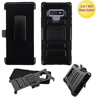 ASMYNA Black/Black Advanced Armor Stand Protector Cover Combo (w/ Holster) for Galaxy Note 9