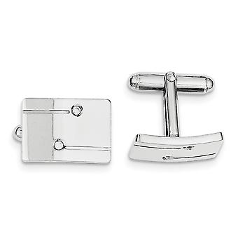 925 Sterling Silver Solid Polished Rectangle With CZ Cubic Zirconia Simulated Diamond Cuff Links Jewelry Gifts for Men