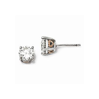 925 Sterling Silver Post Earrings and Rose 14k Gold Plated Love Heart 6.5mm CZ Cubic Zirconia Simulated Diamond Stud Ear