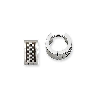 Stainless Steel Brushed Polished Checkerboard Pattern Hinged Hoop Earrings Jewelry Gifts for Women