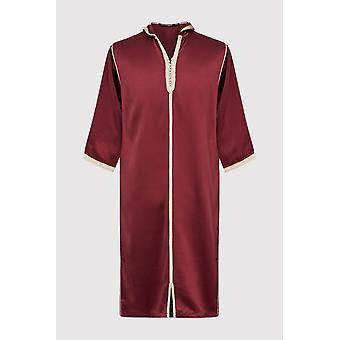 Djellaba bakir boy's contrast trim cropped sleeve hooded satin robe thobe in maroon (2-12yrs)