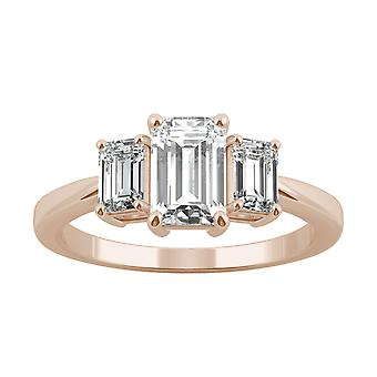 14K Rose Gold Moissanite af Charles & Colvard 7X5mm Emerald Three Stone ring, 1.55 cttw DEW